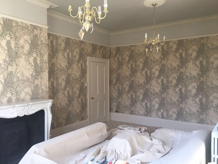 Edwardian period house with wallpaper