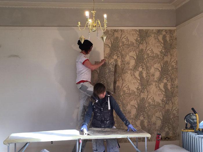 Edwardian period property wallpapering in progress