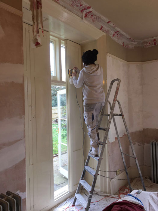 Edwardian house sanding large shutters